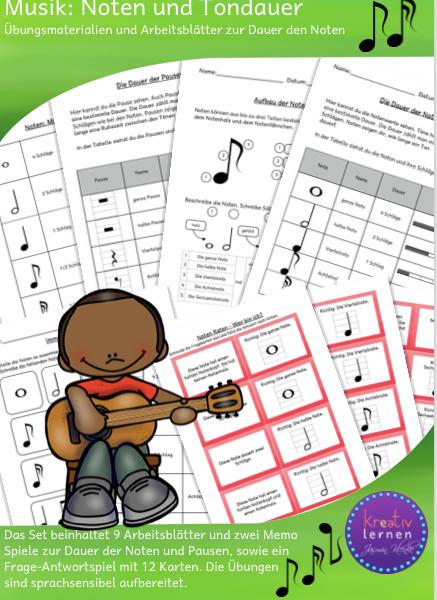 Arbeitsmaterialien für den Musikunterricht in der Grundschule. Noten und Pausen, Tondauer und Tonlänge