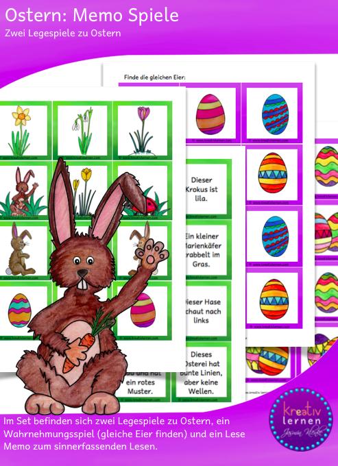Sinnerfassendes Lesen trainieren mit dem Lese Memo Spiel und Wahrnehmung schulen bei der Ostereiersuche.