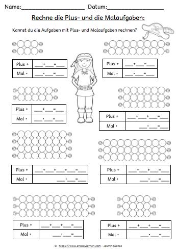 Multiplizieren lernen: Plus und Malaufgaben im Vergleich.