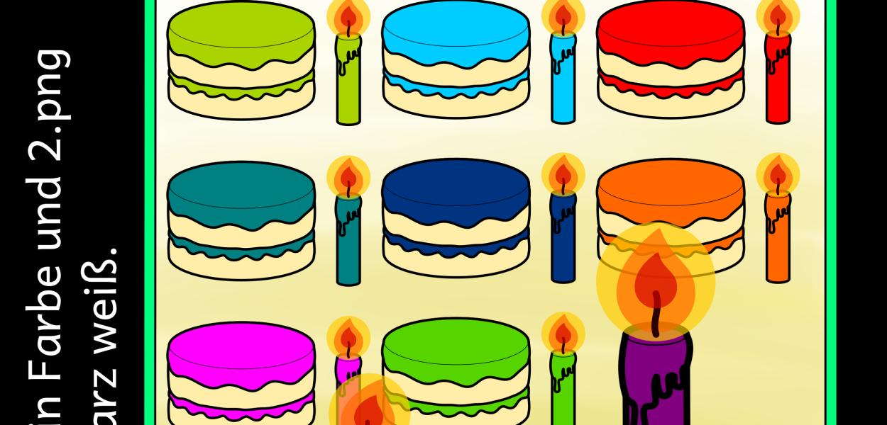 26 Bilddateien zum Thema Geburtstag und Kuchen mit Kerzen.