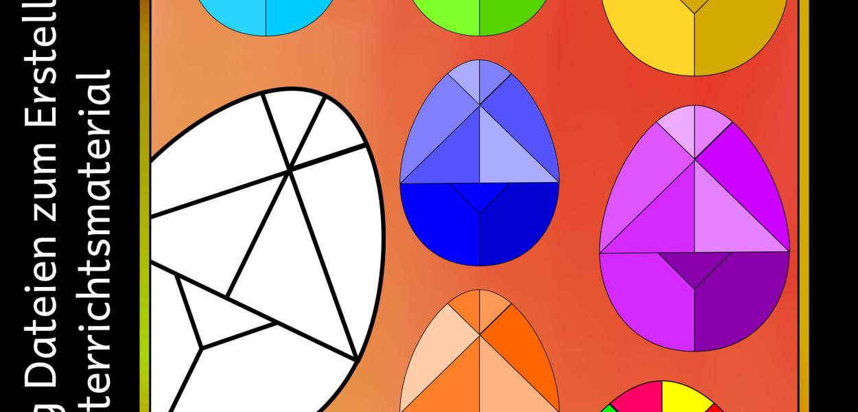 11 Farbige und 2 Schwarz-Weiß Versionen vom Tangram Ei