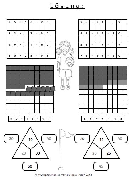 Lösungsblatt Additionsaufgaben zum Zehner Klasse 2