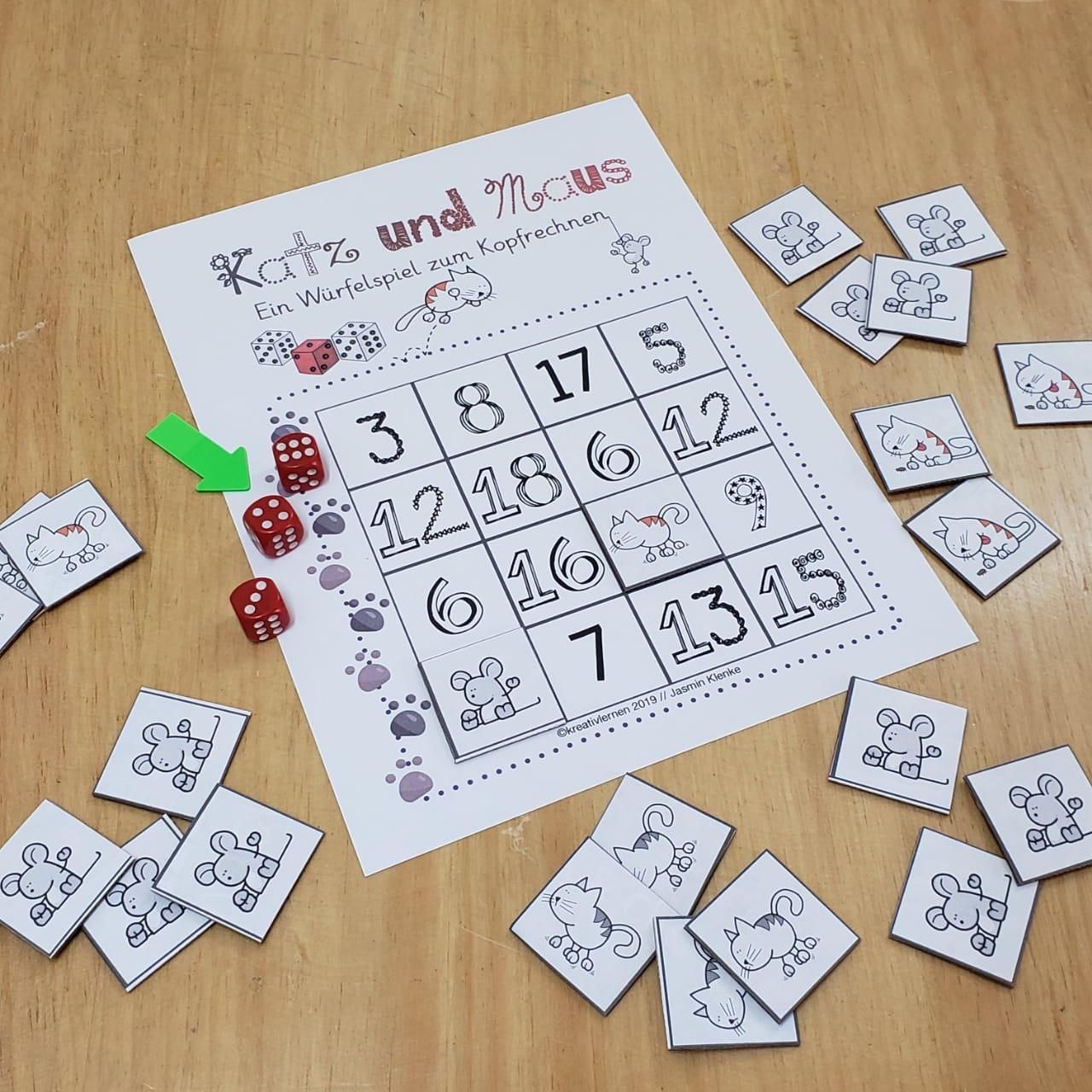 Den Zahlenraum 20 spielerisch erobern. Katz und Maus spielen mit Würfeln um die Punkte. Genau das Richtige Spiel für deinen Mathematikunterricht in Klasse 2.