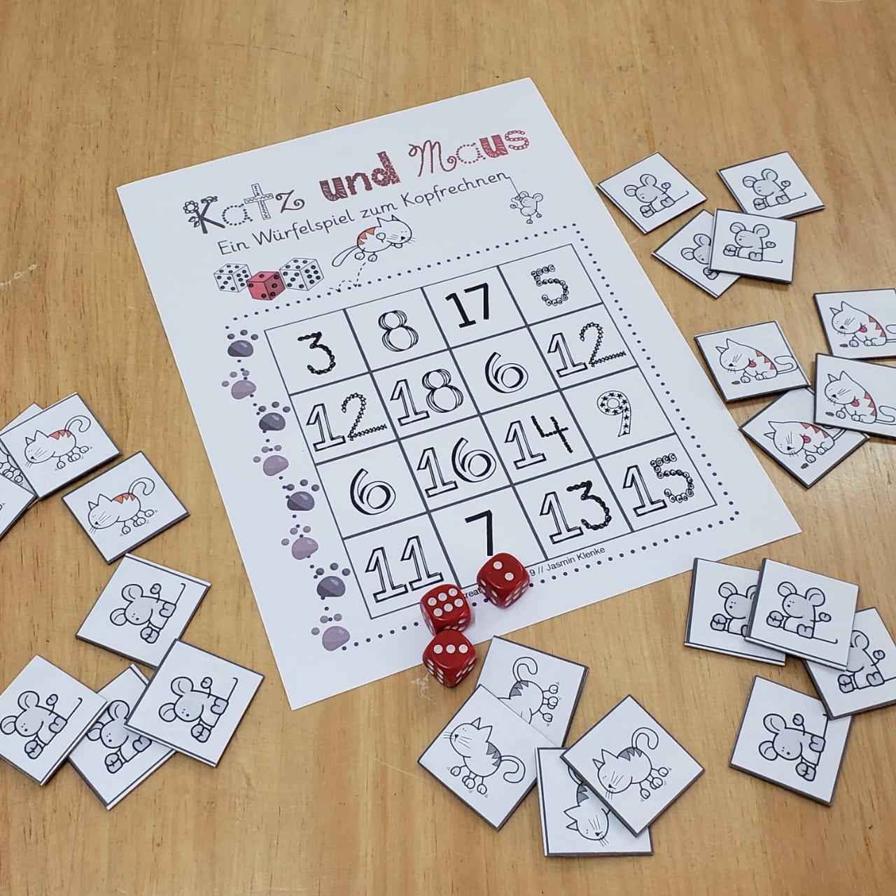 Übe Kopfrechnen mit deinen Schülern spielerisch mit diesem schnellen Würfelspiel.