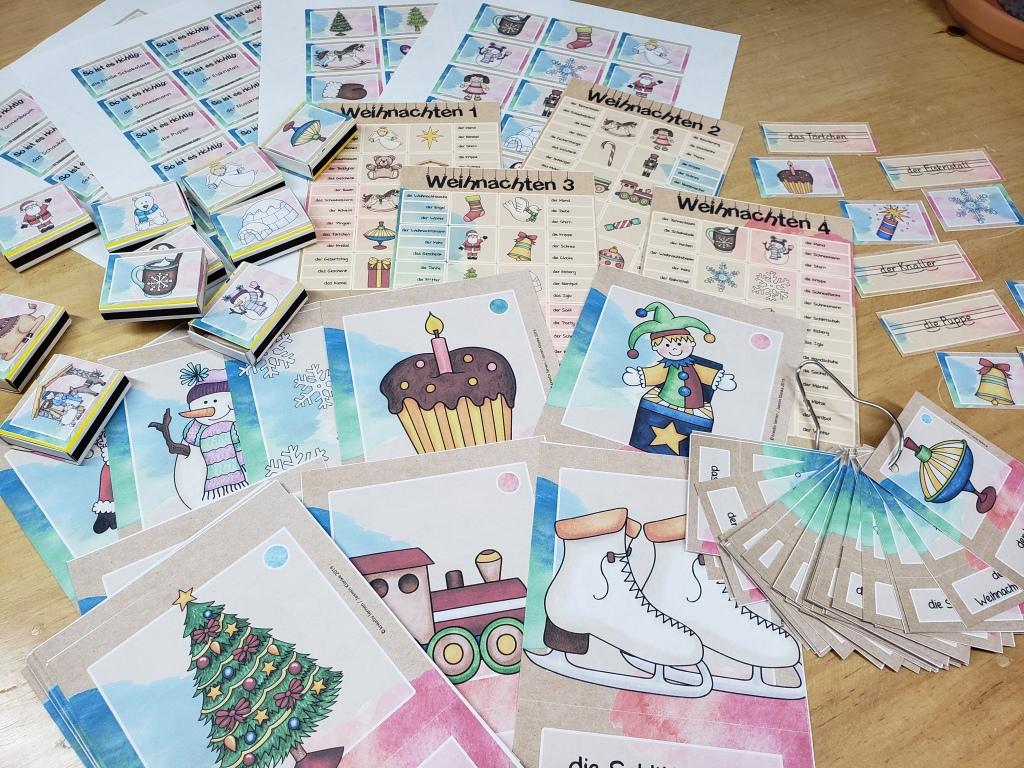 Ob Bildkarten, Vokabelfächer, Silben-Lesewörter in Streichholzschachteln oder Klammerkarten. Das Material zu Weihnachten ist sehr vielfältig einsetzbar.